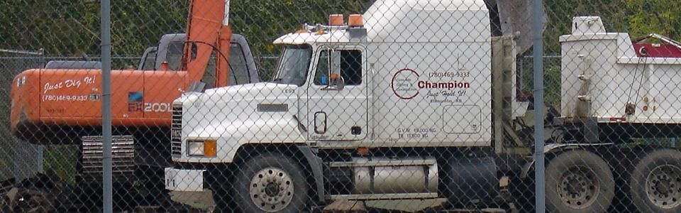 Champion Concrete Cutting Inc. Semi and tractor for demolition removal