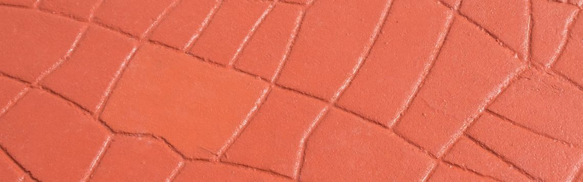 Close-up view of stamped concrete