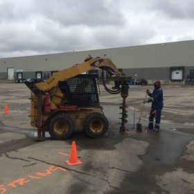 Parking lot concrete drilling